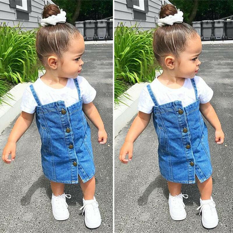 Sweet Toddler Kid Clothes Baby Girl 2Pcs Set Short Sleeve White T-Shirt + Button Overall Denim Bib Skirt Street Wear Outfit