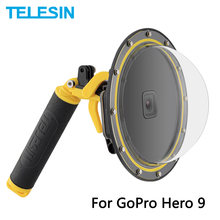 TELESIN-Puerto de cúpula de 6 pulgadas, funda carcasa impermeable de 30M con gatillo de mango flotante para GoPro Hero 9, cubierta subacuática negra