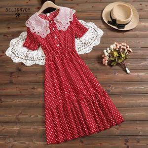 Image 4 - Mori Girl Summer Women Sundress Red White Polka Dot Sleeveless Ruffles Dress Vintage Elegant Chiffon Sweet Lady Pleated Dresses