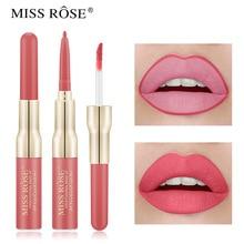 MISS ROSE double head lip gloss lip line Pen Lip Gloss cross border foreign trade makeup matte waterproof Lip Glaze