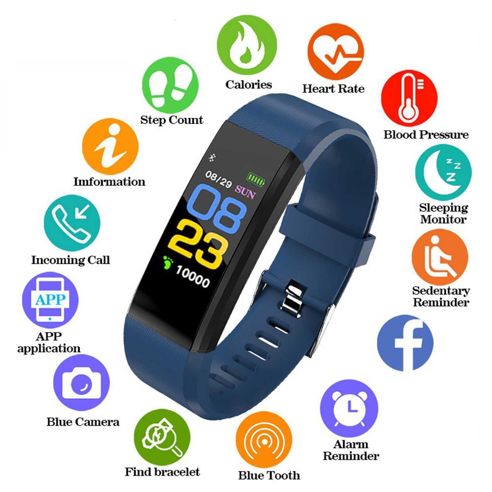 ID115 Plus pantalla a Color Banda inteligente pulsera Bluetooth ritmo cardíaco Monitor de presión arterial reloj inteligente rastreador de Fitness 19 Uds. De instrumentos musicales de percusión Set de ritmo y música para niños pequeños juguetes educativos banda de sonajeros de Madera Juguetes para regalo de niños