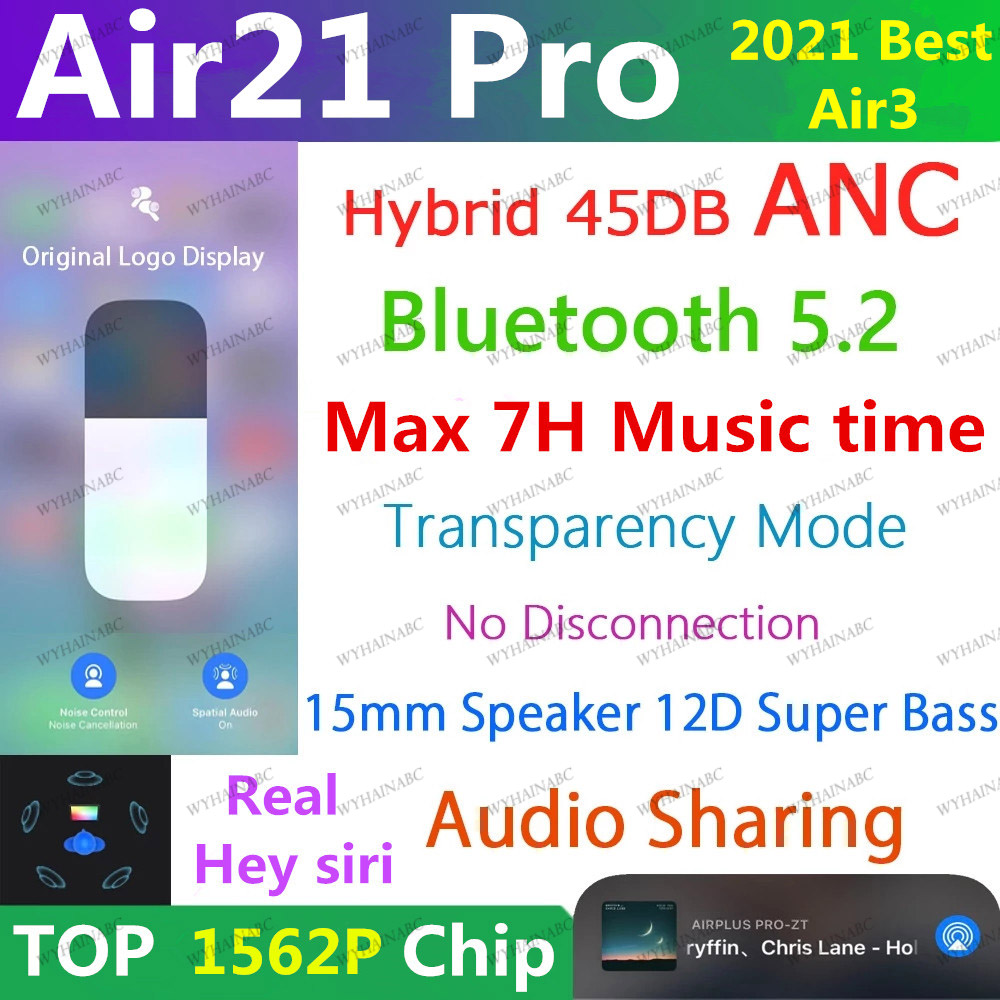 Air21 pro TWS беспроводные Bluetooth 5,2 наушники 45DB гибридные ANC наушники-вкладыши супер бас качество 1562P PK H1 1562A i90000 MAX i99999 Air