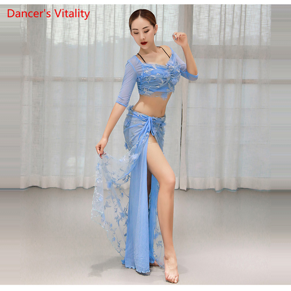 Comfortable Mesh Belly Dance Costume Women 2pcs Set Top Slit Side Skirt Oriental Dance Short Sleeve Dress