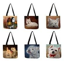 Design exclusivo westie cão pintura praça bolsa para compras feminina sacos de grande capacidade eco linho totes