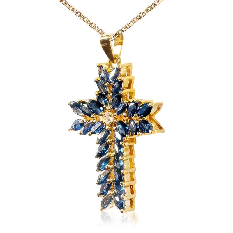 Huitan New Trendy Cross Women Pendent Necklace Anniversary Gifts Gold Color Gorgeous Blue Marquise CZ Female Accessories Jewelry