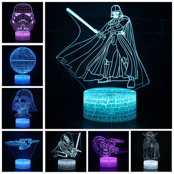 Star Wars Darth Vader Anime Figure Acrylic 3D Illusion LED Lamp Colourful NightLight Death Star Mask Yoda Model Toys Child Gift 1