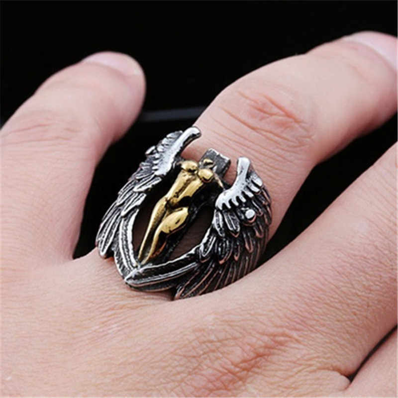 Vintage Winged Angel Cross Ring Skull Gothic Men Ring Reteo HipHop Punk Male Rings For Women Party Steampunk Rings Jewelry