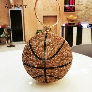 Koszykówka Rhinestone złota torba wieczorowa kobiety nowy luksusowy projektant okrągła kula sprzęgła obiad torebka damska oryginalność torebka Party