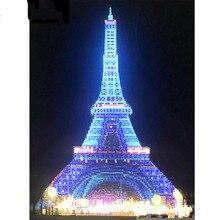 Свет полный круглый дрель 5D поделки Алмаз живопись Эйфелева башня 3D Вышивка Крестом декор подарок 30х40см