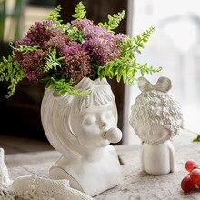Nordic Style Creative Portrait Vase Human Head Decor Ornaments Resin Blowing Bubble Girl Flower Pot Home Decoration Accessories