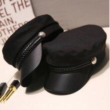 Модная шапка из искусственной кожи в стиле милитари, осенняя шляпа моряка для женщин и мужчин, черная, серая Женская кепка с плоским верхом для путешествий, Кепка Капитана, береты