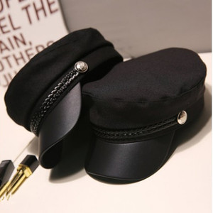 Fashion PU Leather Military Hat Autumn Sailor Hat For Women Men Black Grey flat top Female travel cadet hat Captain Cap Berets(China)