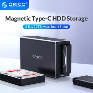 Image 1 - ORICO NS סדרת 3.5 2 מפרץ סוג C HDD עגינה תחנת תמיכה 32TB USB3.1 5Gbps UASP HDD מקרה עם 12V4A מתאם HDD מארז