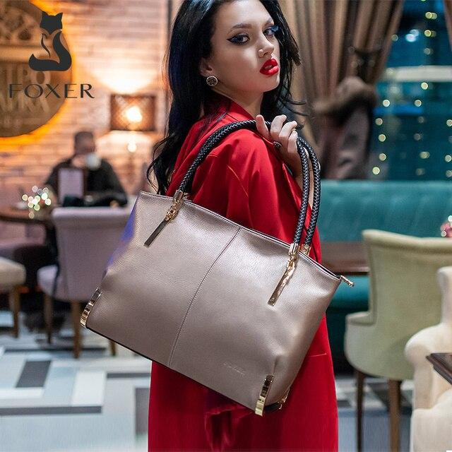 Marca FOXER, Sacolas de luxo, sacolas vintage para mulheres, sacolas de ombro para mulheres, sacolas para mulheres em couro de vaca, sacolas para marcas de moda, bolsa com zíper de grande capacidade para mulheres 1