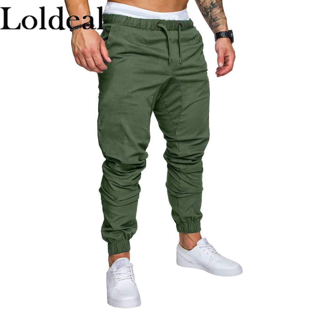 Loldeal Men Solid Color Joggers Pants Fashion Slim Rope Elastic Waist Casual Fitness