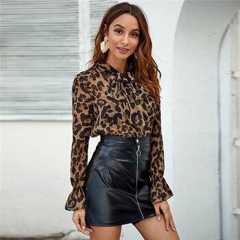 Blusa manga larga animal print leopardo cuello nudo primavera 2