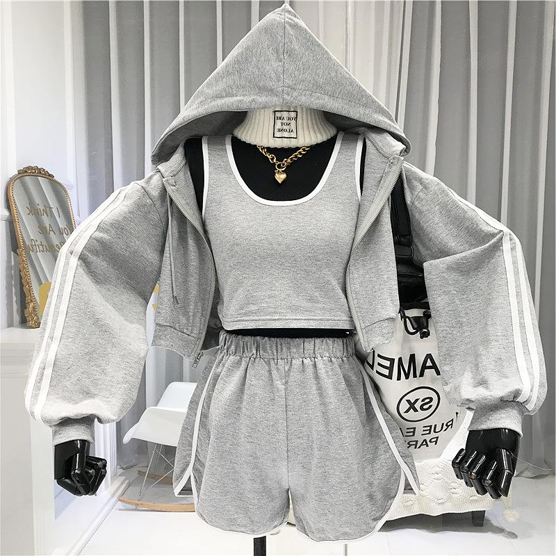 2 Piece Set Women's 2020 Casual Loose Running Coat  Camis Shorts Three-piece Set