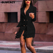 Women Double Breasted Tassel Design Long Sleeve Blazer Dress Chic Solid Notched