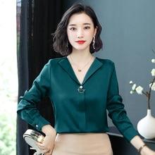 Korean Fashion Silk Women Blouses Autumn Turn-down Collar Pink Women Shirts Plus Size XXXL Blusas Femininas Elegante Ladies Tops