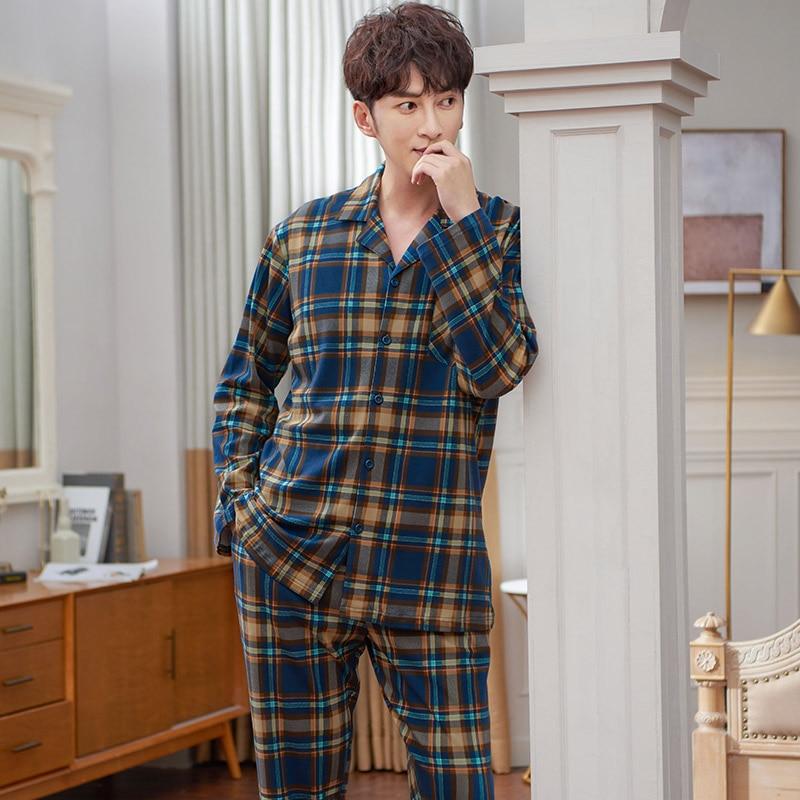Full Pure Cotton Pyjamas Men Pajama Sets Long Sleeve Classic Generous Sleepwear Pijamas Hombre Pyjama Male Knit Plaid Pajamas