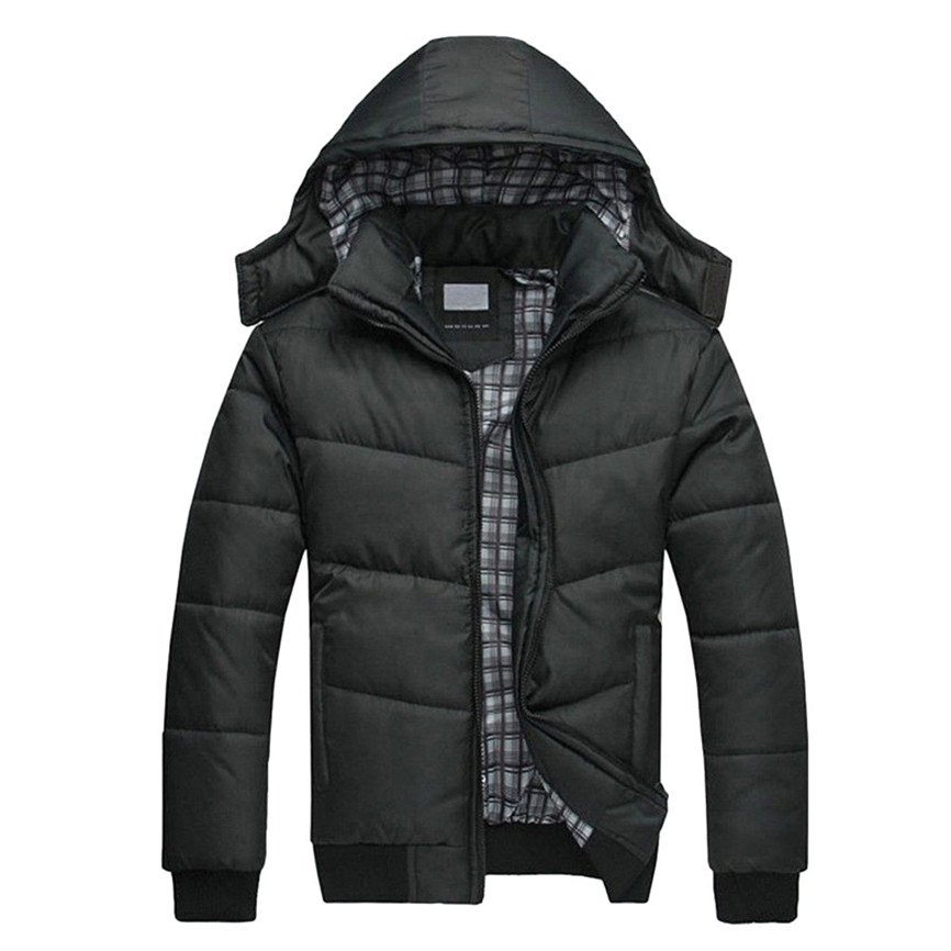 Puffer Jacket Coats Padded Windbreaker Hooded-Down Warm Black Men's Winter Outwear And