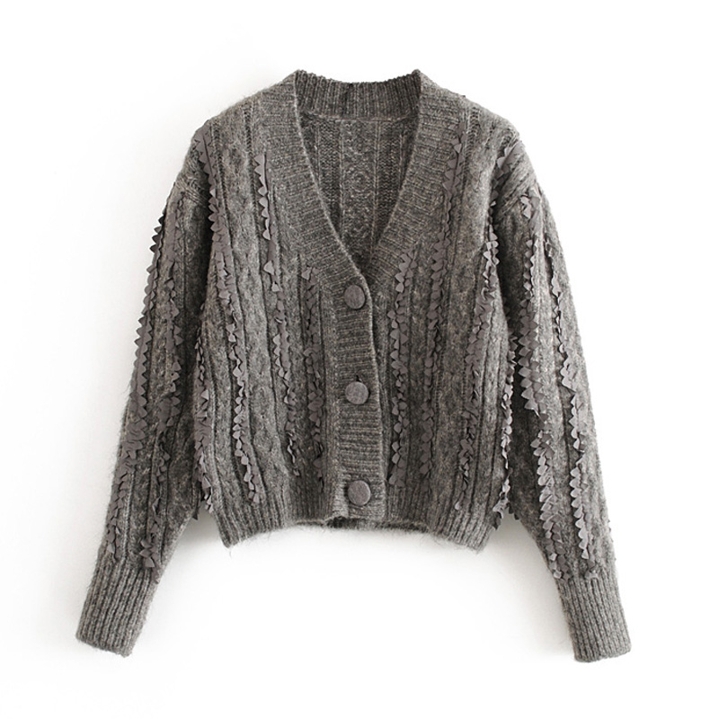 Vintage Jacquard Criss Cross Cardigans Women Fashion Single Breasted V-Neck Sweaters Elegant Ladies Long Sleeve Sweaters
