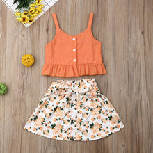 US 2PCS Toddler Kids Baby Girls Summer Clothes Sling Tops+Skirt Dress Outfit Set(China)