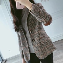 2020 New Fashion Business Interview Plaid Suits Women Work Office Ladies Long Sleeve Vintage Blazer