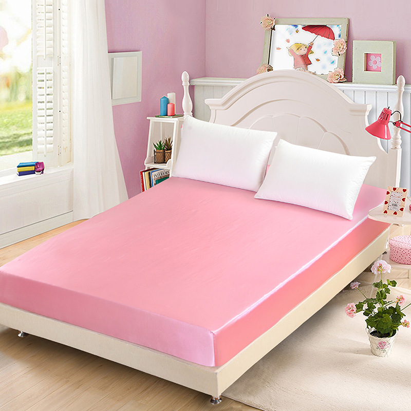 Soft Plain Silk Fitted Sheet Satin Bed Cover Home Bedroom Bedsheet Twin Queen King Size <font><b>180*200</b></font> Bedspread Bed Sheets image