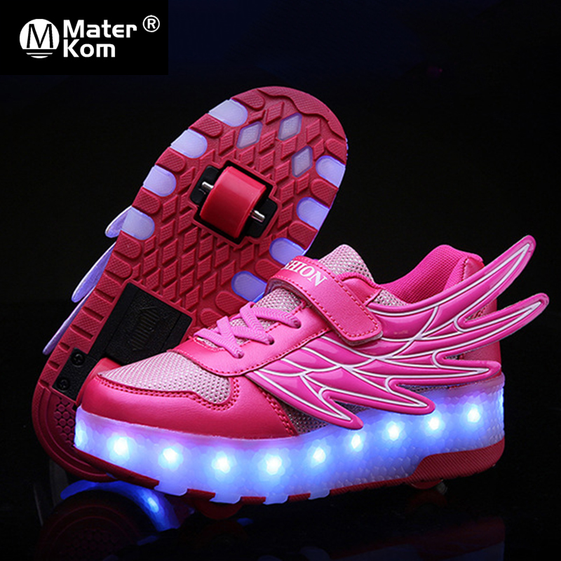 Size 28-42 Glowing LED Wheel Sneakers For Kids Girls USB Charged Roller Skate Shoes With Lights For Children Boys Skating Shoes