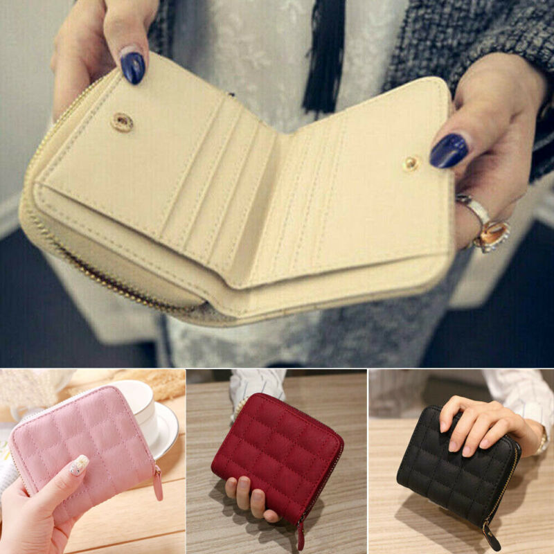 Women Ladies Wallet Leather Zip Coin Women Ladies Wallet Leather Zip Coin Purse Clutch Handbag Small Mini Card Holder