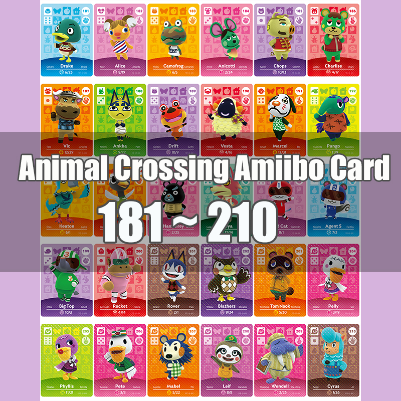 Animal Crossing Amiibo Card Animal Crossing New Horizons Game NFC Lobo Card Work For NS 3DS Game Switch Series 2&3 (181-210)