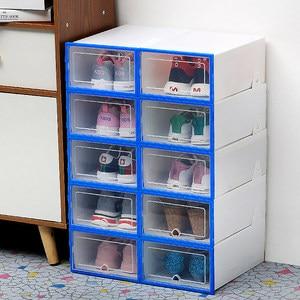 Image 5 - 10 pc 透明靴箱肥厚透明防塵靴収納ボックス canbe 積み重ねコンビネーションシューズキャビネット靴オーガナイザー