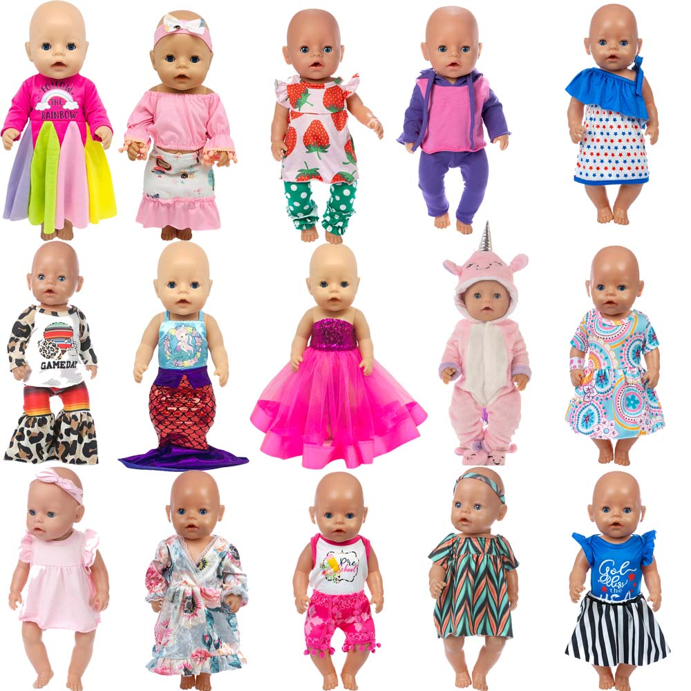5pcs/set Dolls Outfit For 17 Inch 43cm Baby Doll Cute Jumpers Rompers Doll Clothes (Random 5 Pieces)