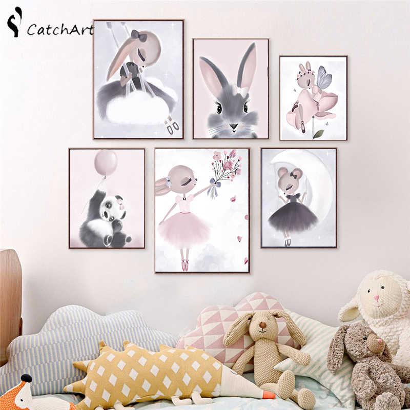 Nordique aquarelle dessin animé licorne cerf lapin fille toile peinture fleur affiche cygne mur photos enfants chambre décoration de la maison