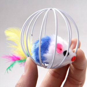 Cat Toy Iron Cage Mouse Feather Plush Mouse Cat Toys Interactive Kitten Playing Funny Mice Mouse Toys for Cats Pet Animals(China)
