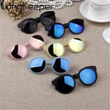 LongKeeper New Kids Sunglasses Fashion Children Cute Sun Glasses Girls Boys Mirror Eyeware Baby Round Goggle Gafas De Sol UV400