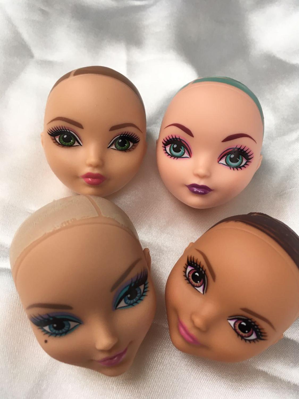 Monstering Doll Toy Head No Hair Doll Heads DIY Plants Hair Head White Brown Green Clear Purple Skin Doll Bald Heads DIY Parts
