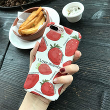 I Love Strawberry Phone Case For iPhone XR X XS Max 7 8 6S Plus Case Matte Hard PC Flower Painting Back Cover iPhone Shell Case(China)