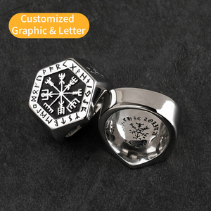 Image 4 - Vegvisir stainless steel  rings  for man  Nordic mythology Viking rune  Index Ring fashion jewelry