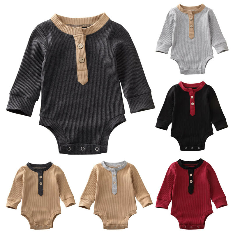 Newborn Infant Baby Boy Girls Bodysuit Long Sleeve Unisex Bebe Cotton Clothes Baby Clothing Solid Body Tops