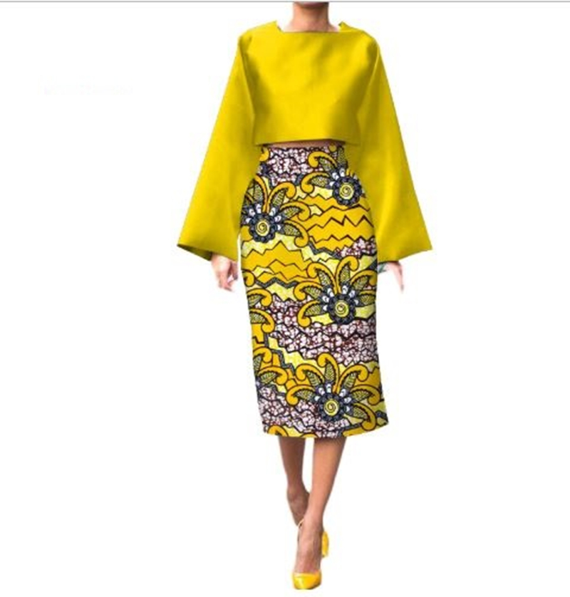 African Long Sleeve Print Tops And Skirt Sets For Women Bazin Riche African Clothing 2 Pieces Customize Skirts Sets
