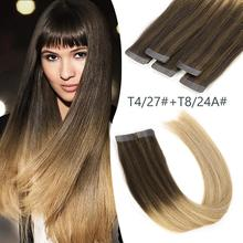 Парики K.S, 20 дюймов, 2,5 г/шт., волосы на ленте, двойные прямые волосы Remy для наращивания, цвет Balayage, T4/27+ T8/24A