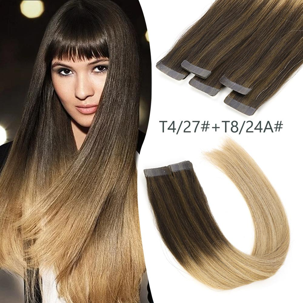 K.S WIGS 20'' 2.5g/pc Tape In Hair Double Drawn Straight Remy Human Hair Extensions Balayage Color T4/27+T8/24A#