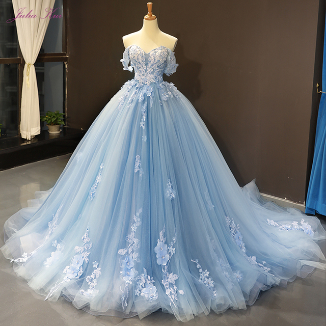 Julia Kui Gorgeous Ball Gown Wedding Dress Sky Blue Color With Elegant Appliques 3D Flowers Wedding Gown Off The Shoulder