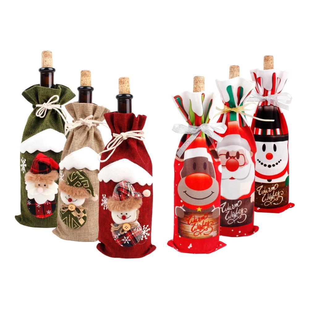Рождественская крышка бутылки вина рождественские украшения для дома 2020 Рождественское украшение Новогоднее 2021 рождественские подарки ...