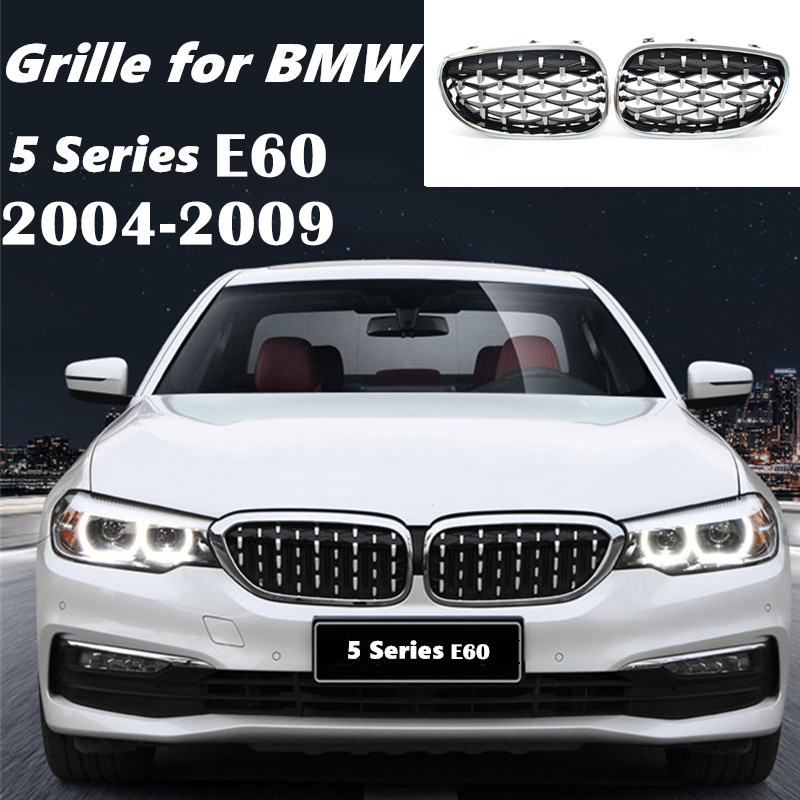 For <font><b>BMW</b></font> <font><b>E60</b></font> <font><b>5</b></font> <font><b>Series</b></font> 2004 2005 2006 2007 2008 2009 Car accessries Front Grill Diamond Metero Style Grill replacement Decoration image