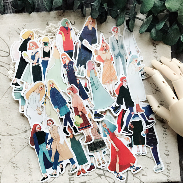 31pcs Hand Drawing An Icy Beauty Fashion Travel Matching Clothing Colorful Decoration Stickers To Diy Ablum Diary Books