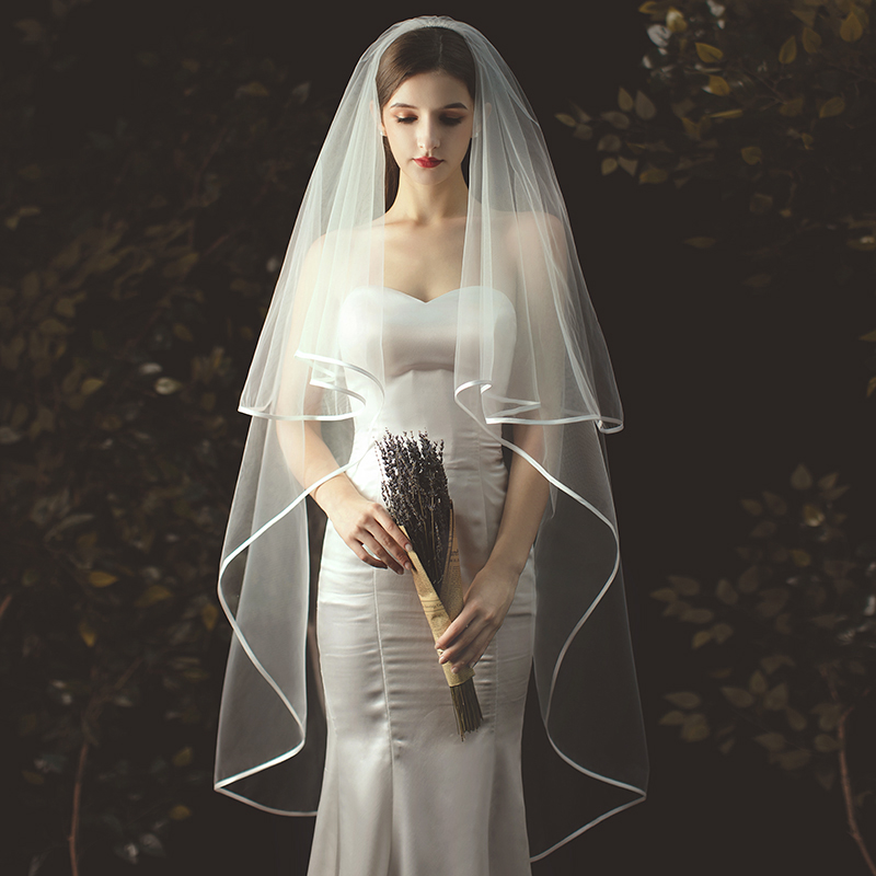 2m Ivory Wedding Veil Tulle Bridal Veils With Comb 2-layer Long Veil Bride With Ribbon Edge Wedding Accessoire Mariage Veils