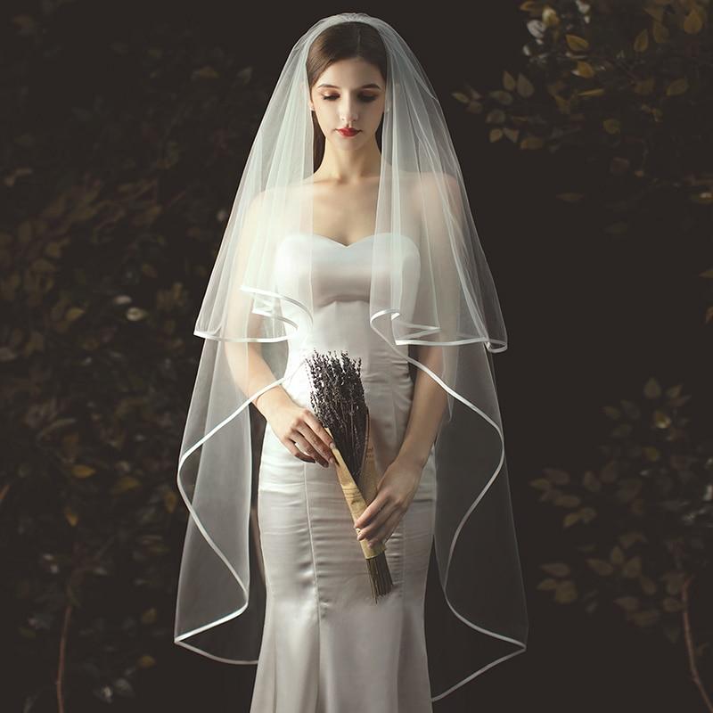 Свадебная фата цвета слоновой кости, 2 м, фатиновая Фата с расческой, двухслойная Длинная фата для невесты с кромкой из ленты, свадебные аксе...